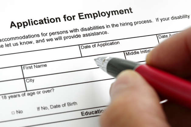 Image of a job application form