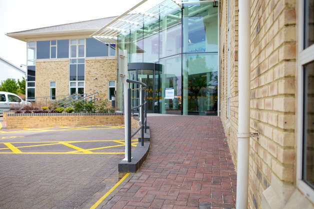 Ramp-access-to-front-entrance-of-Motability-Operations'-Bristol-buildings